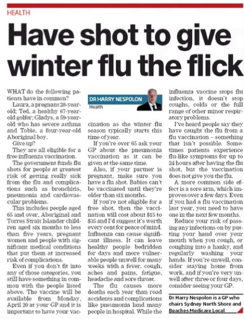 Manly Daily 180415 Flu Shot