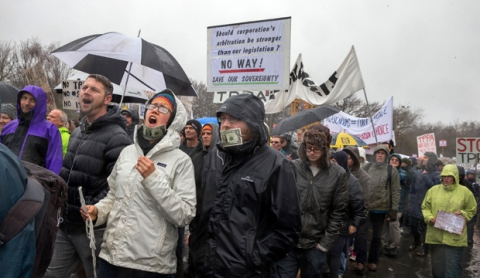 15082015 News Photo:Dean Kozanic/FairfaxNZ. Thousands marched along Riccarton Road in Christchurch in an anti TPPA protest on Saturday. The protesters leave Hagley Park at Nancy's Corner and head up Riccarton Road..