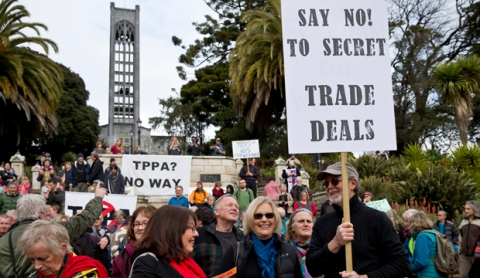 15082015 News: Marion van Dijk/Fairfax NZ About 400 people turned out for the TPPA WalkAway day of action protest in Nelson.