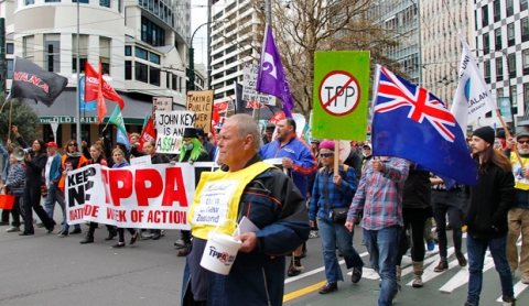 15082015 Monique Ford / Fairfax NZ TPPA march from Midland park to Parliament  Wellington
