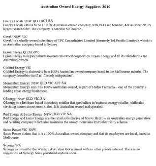 Aust Owned Energy Suppliers