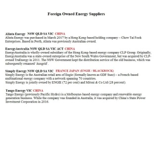 Foreign Owned Energy Suppliers